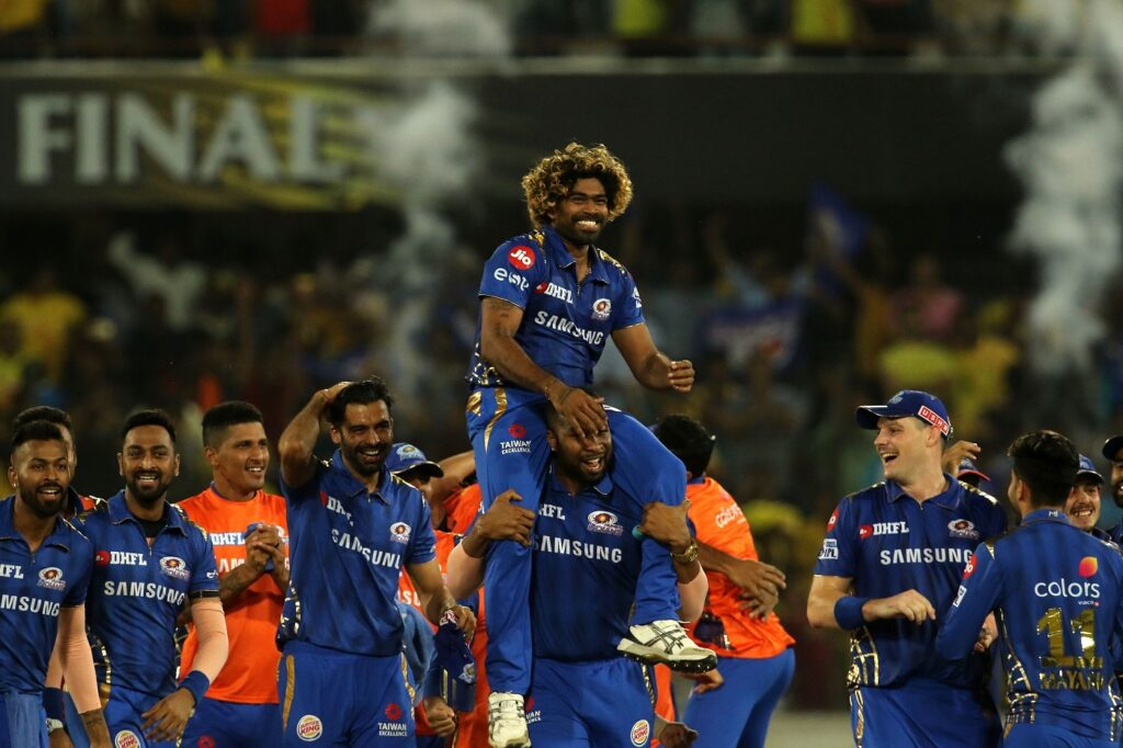 Mumbai Indians players celebrate after winning the final of IPL 2019 against CSK